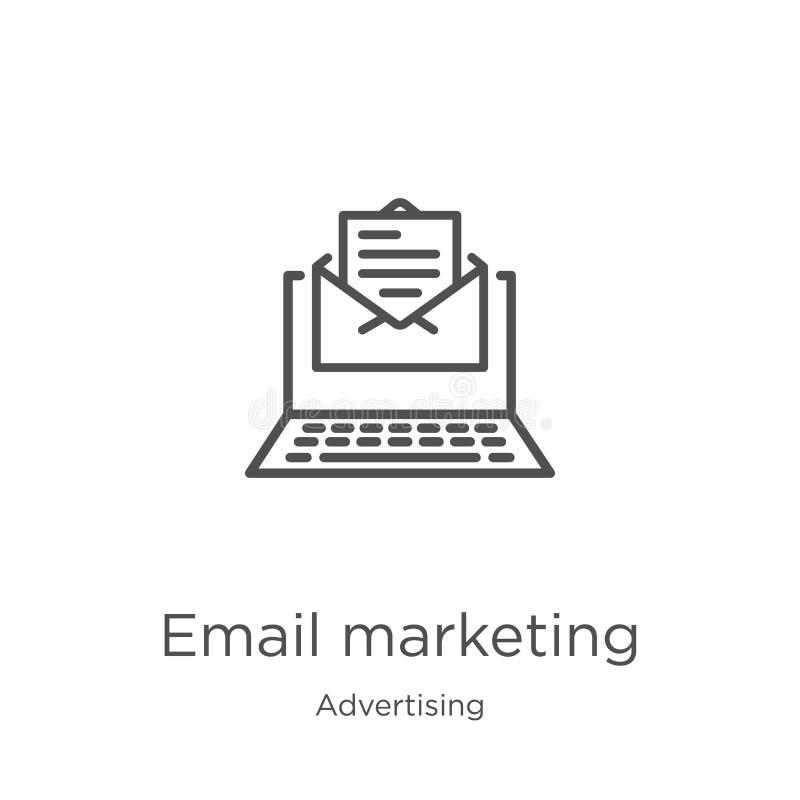 vektor för emailmarknadsföringssymbol från annonsering av samlingen Tunn linje illustration för vektor för symbol för emailmarkna stock illustrationer