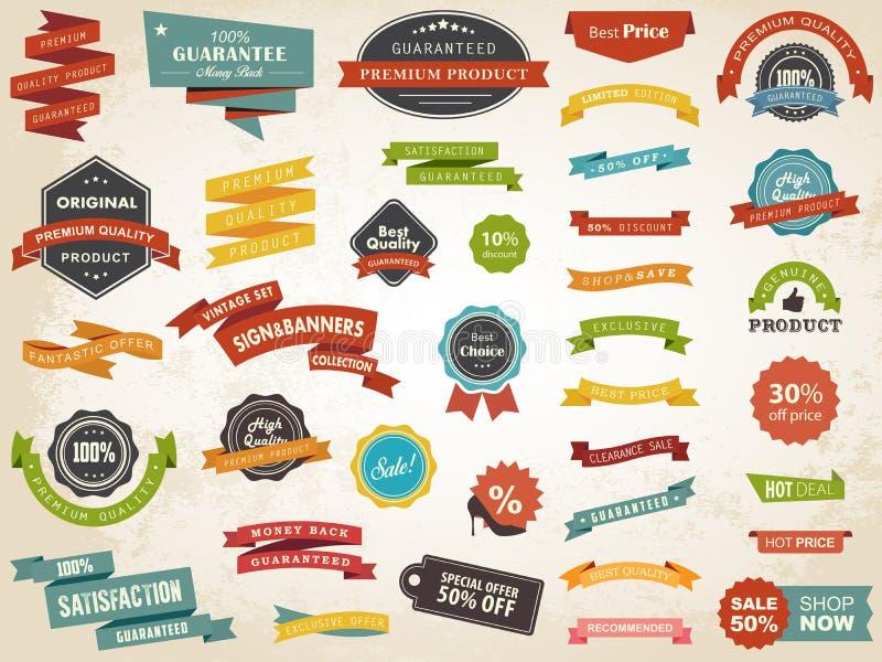 Vektor för emblem för klistermärke för etikett för tappningetikettbaner royaltyfri illustrationer