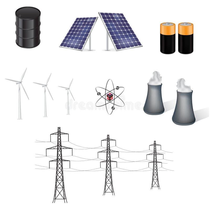 vektor för energiillustrationkällor stock illustrationer