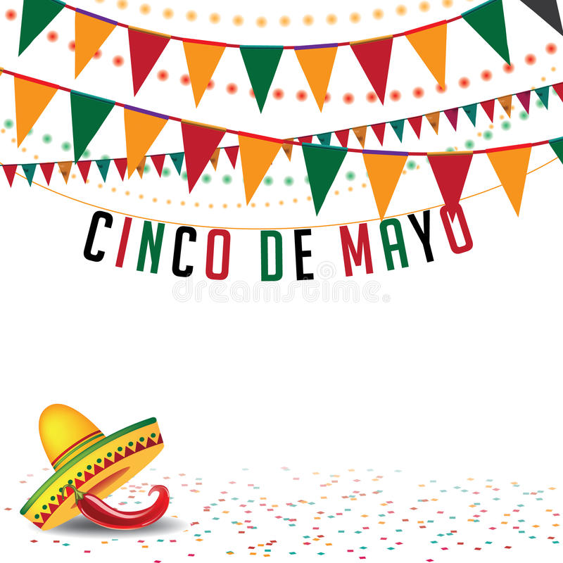 Vektor för EPS 10 för Cinco De Mayo buntingbakgrund