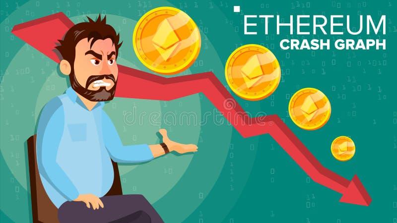 Vektor för Ethereum kraschgraf Förvånad aktieägare Utbyteshandel för negativ tillväxt Kollaps av Crypto valuta stock illustrationer
