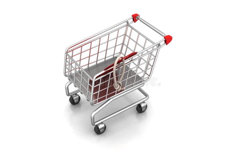 vektor för etikett för shopping för försäljning för illustration för vagnsbegreppsrabatt Begrepp av rabatten vektor illustrationer
