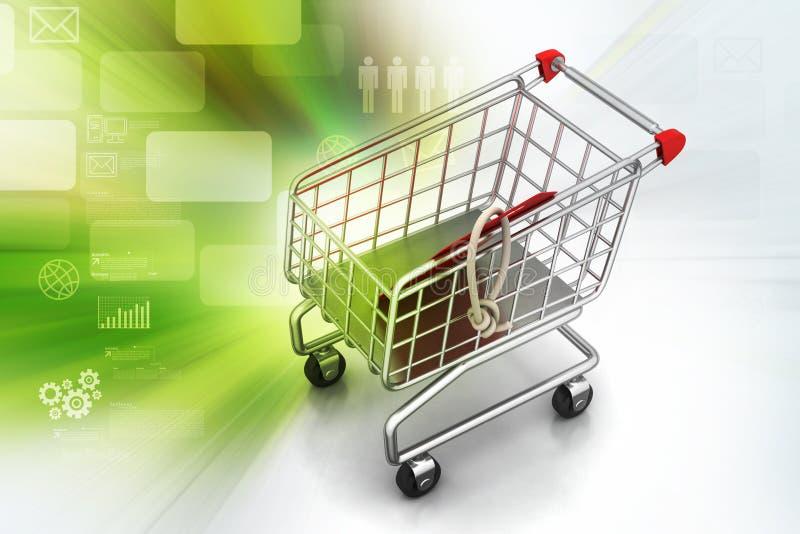vektor för etikett för shopping för försäljning för illustration för vagnsbegreppsrabatt Begrepp av rabatten royaltyfri illustrationer