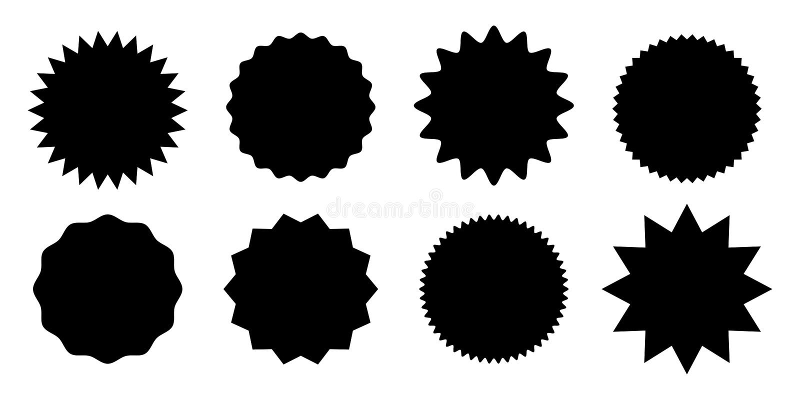 Vektor för etikett för stjärna för starburst för Promoförsäljningsklistermärke stock illustrationer