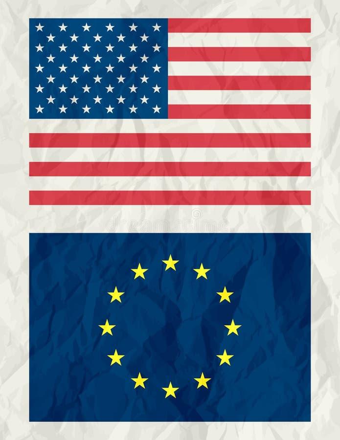 vektor för euroflaggaUSA royaltyfri illustrationer