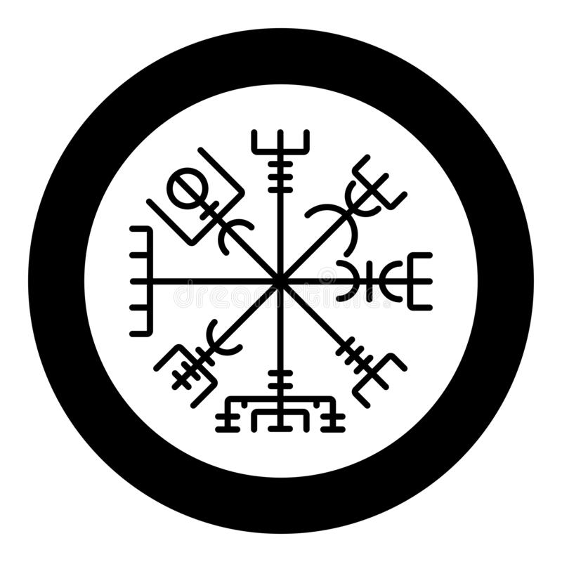 Vektor för färg för svart för symbol för symbol för kompass för navigering för Vegvisir run- kompassgaldrastav i bild för stil fö stock illustrationer