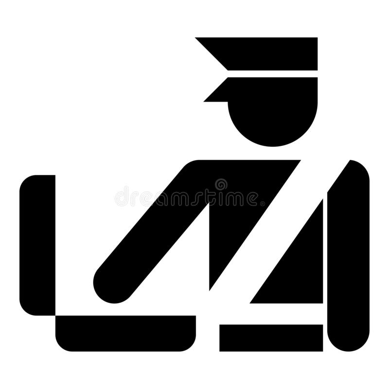 Vektor för färg för svart för symbol för tecken för kontroll för bagage för kontroll för bagage för bagage för kontroll för egen  royaltyfri illustrationer