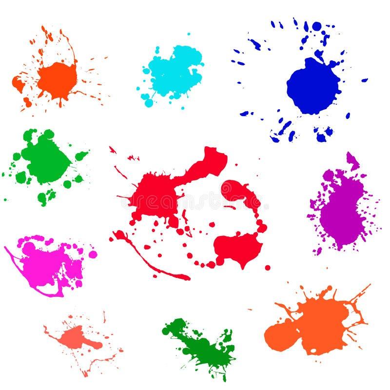 Vektor för färgstänkmålarfärgfläck vektor illustrationer