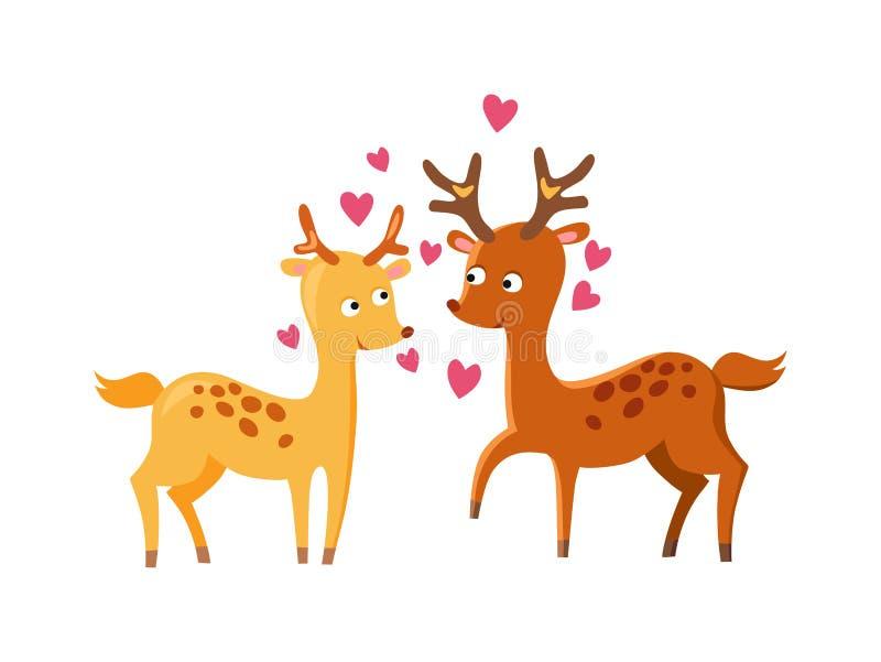 Vektor för förälskad natur för älskvärda deers fallande gullig djur vektor illustrationer