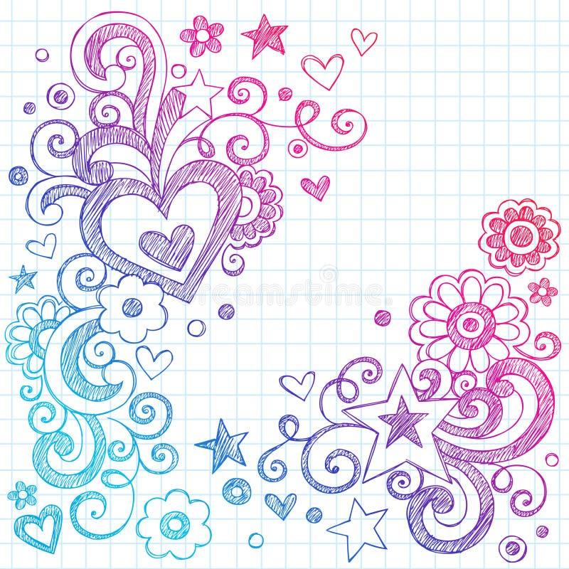vektor för förälskelse för hjärtor för designklotterelement sketchy stock illustrationer