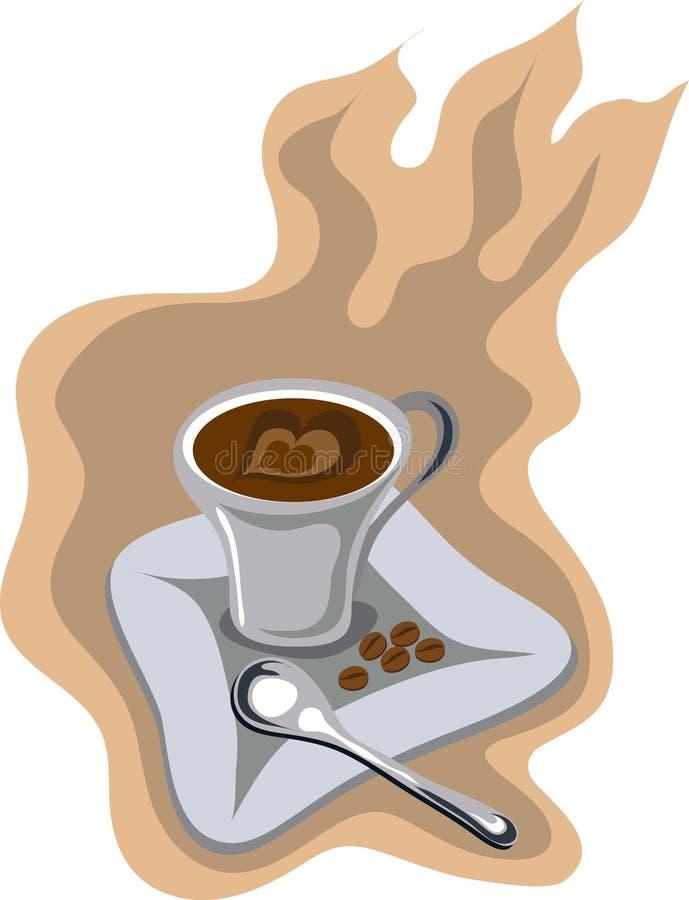 vektor för förälskelse för kaffekopp royaltyfri illustrationer