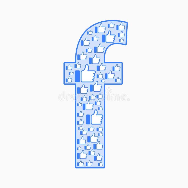Vektor för Facebook abstrakt begreppsymbol stock illustrationer