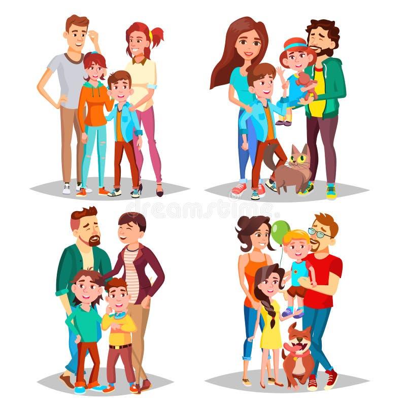 Vektor för familjståendeuppsättning Föräldrar barn I Santa Hats lycklig familj Isolerad tecknad filmillustration royaltyfri illustrationer