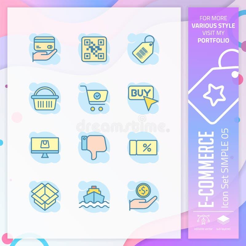 Vektor för fastställd design för affärssymbol med enkelt begrepp E-kommers symbol för websitebeståndsdelen, app, UI, grafisk info vektor illustrationer