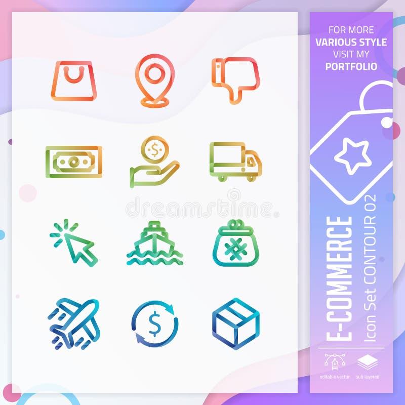Vektor för fastställd design för affärssymbol med färgrik stil 3D E-kommers symbol för websitebeståndsdelen, app, UI som är infog vektor illustrationer