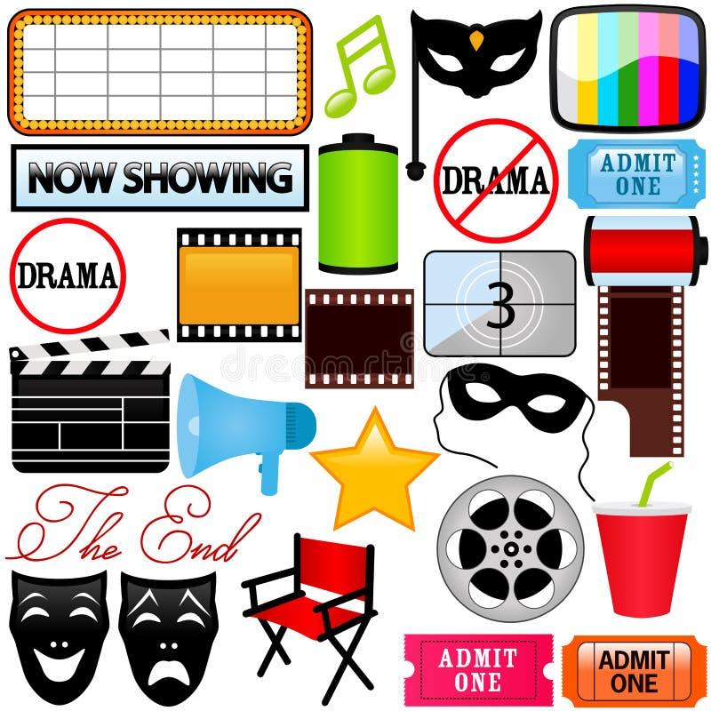 vektor för film för symboler för dramaunderhållningfilm stock illustrationer