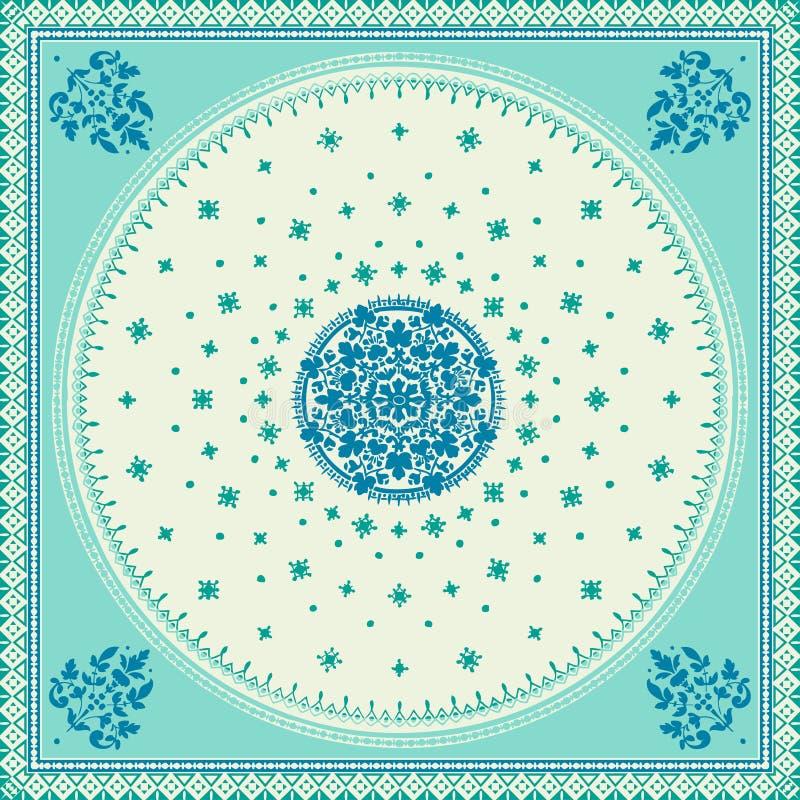 Vektor för filt för viktoriansk blom- paisley medaljong dekorativ ethnic vektor illustrationer