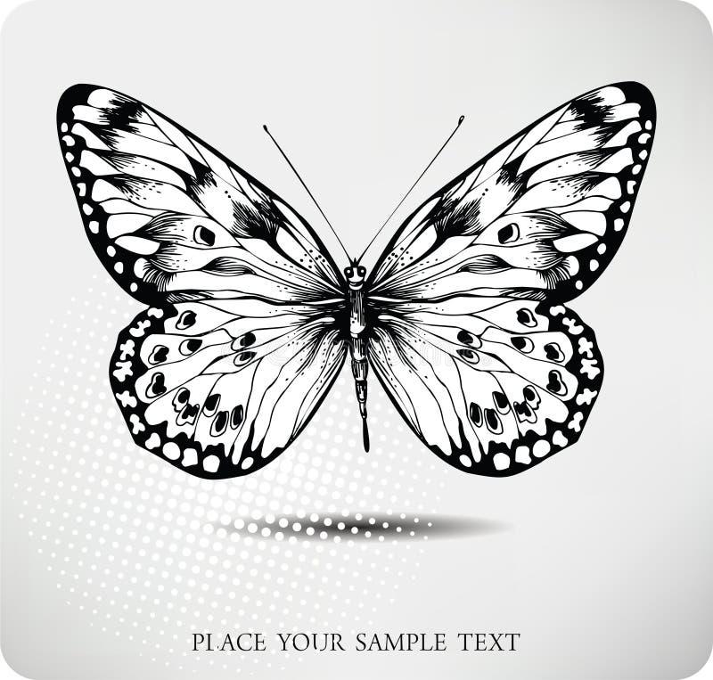 vektor för fjärilsteckningshand stock illustrationer