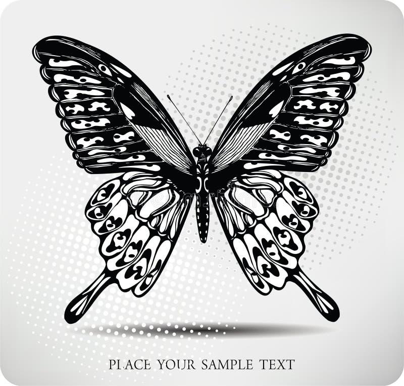 vektor för fjärilsteckningshand royaltyfri illustrationer