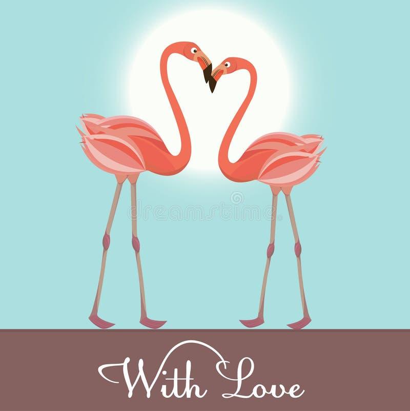 vektor för flamingoillustrationförälskelse vektor illustrationer