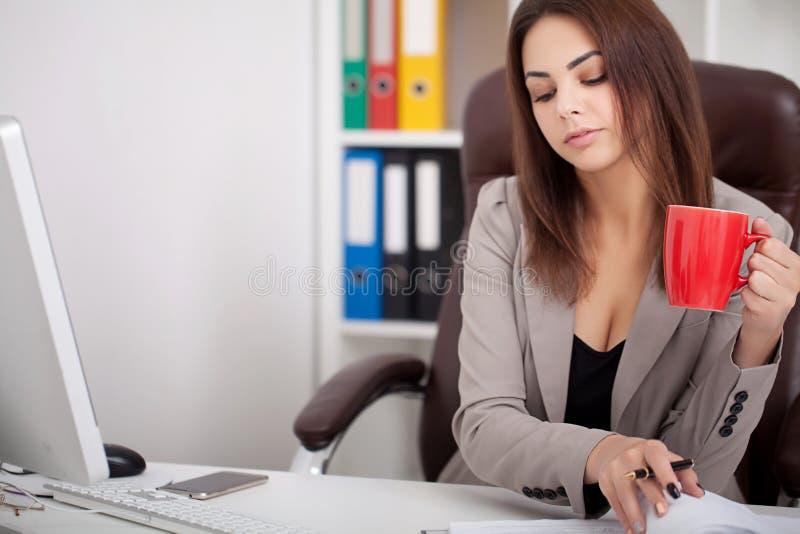 vektor för folk för affärsillustrationjpg Stående av kvinnan i regeringsställning Härliga Confiden royaltyfri bild