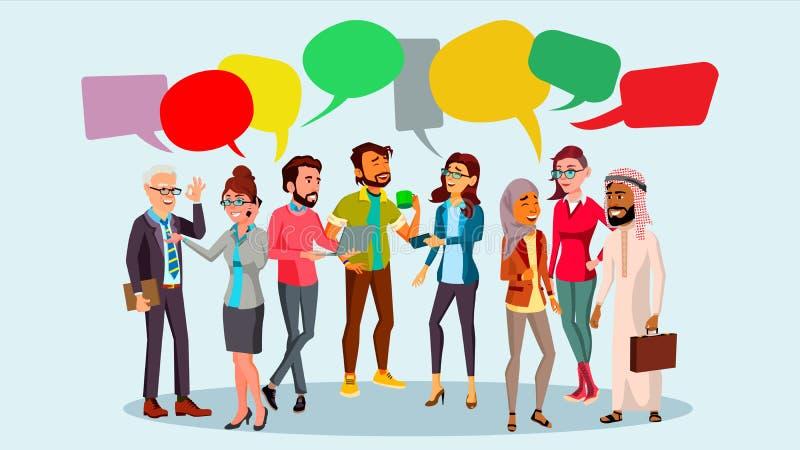 Vektor för folkgrupppratstund Kommunikationsbubbla Teamwork Kontorslivsstil meddelande bubbles mer mitt portföljsetsanförande ill stock illustrationer