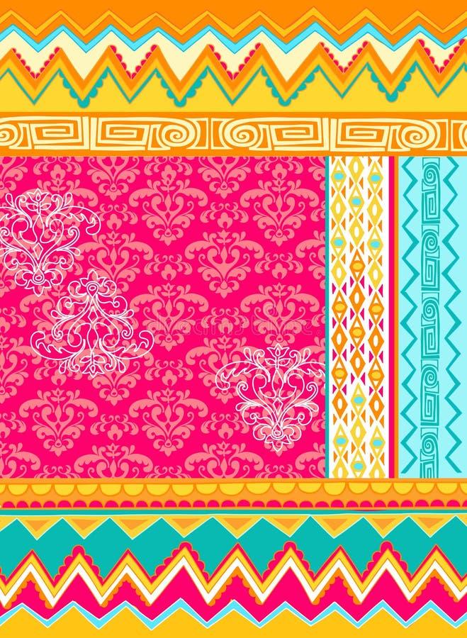 vektor för folkloric illustration för design blandad stock illustrationer