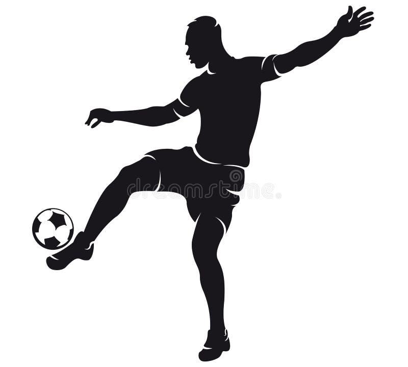 vektor för fotbollsspelaresilhouettefotboll stock illustrationer