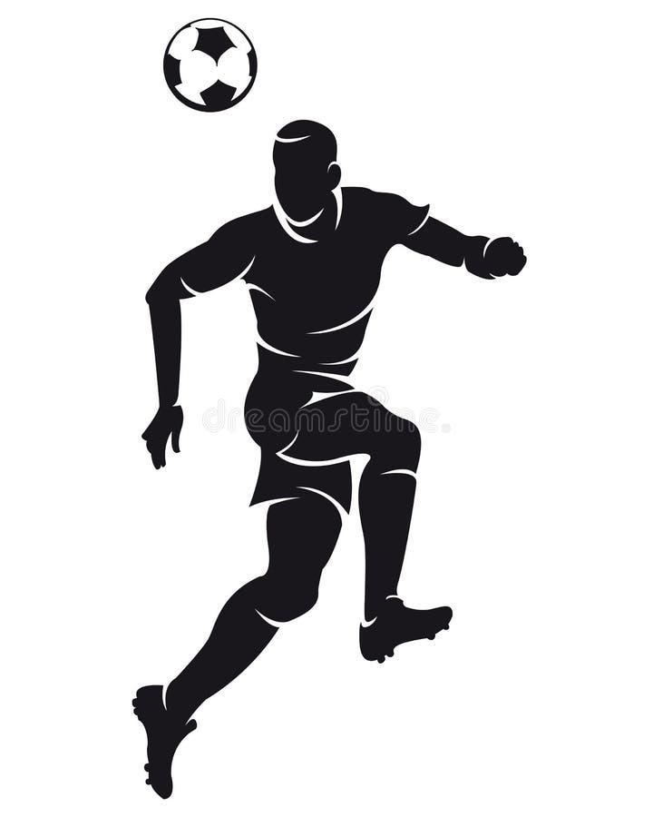 vektor för fotbollsspelaresilhouettefotboll royaltyfri illustrationer