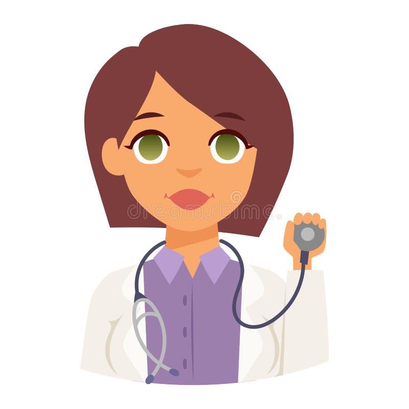 Vektor för framsida för doktorsspecialistavatar stock illustrationer