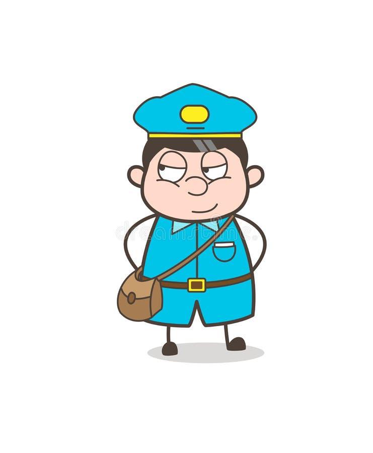 Vektor för framsida för vuxen Postboy för tecknad film smila stock illustrationer
