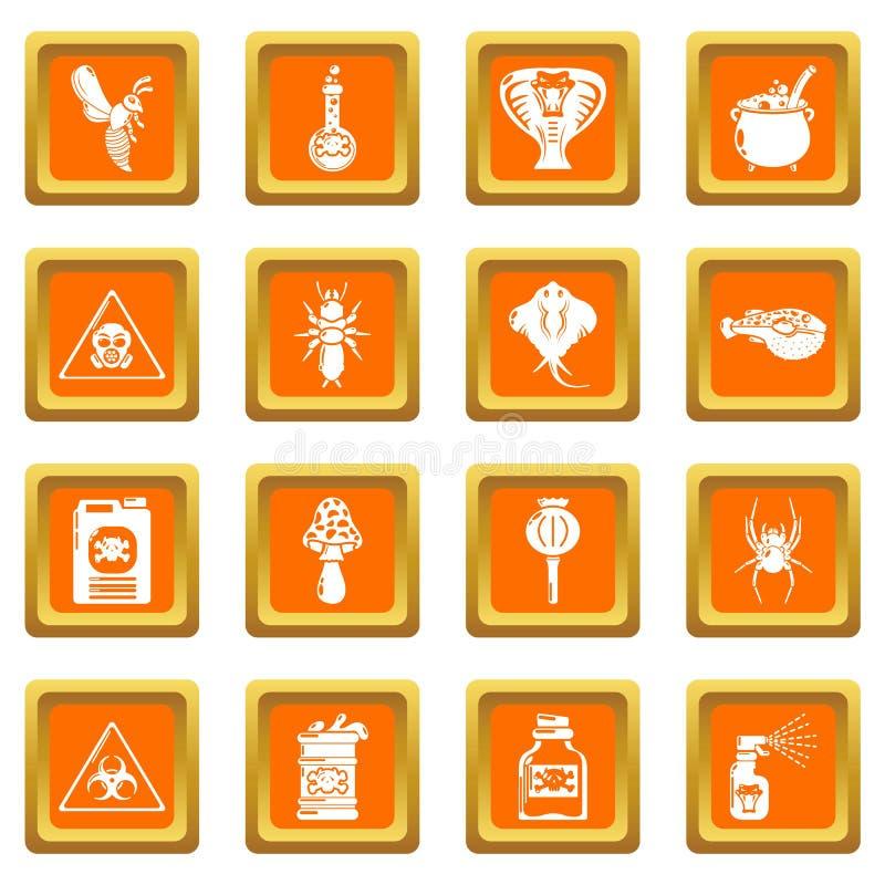 Vektor för fyrkant för apelsin för giftliga symboler för giftfara fastställd stock illustrationer