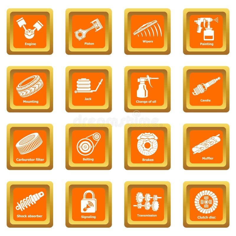 Vektor för fyrkant för apelsin för symboler för bilreparationsdelar fastställd stock illustrationer