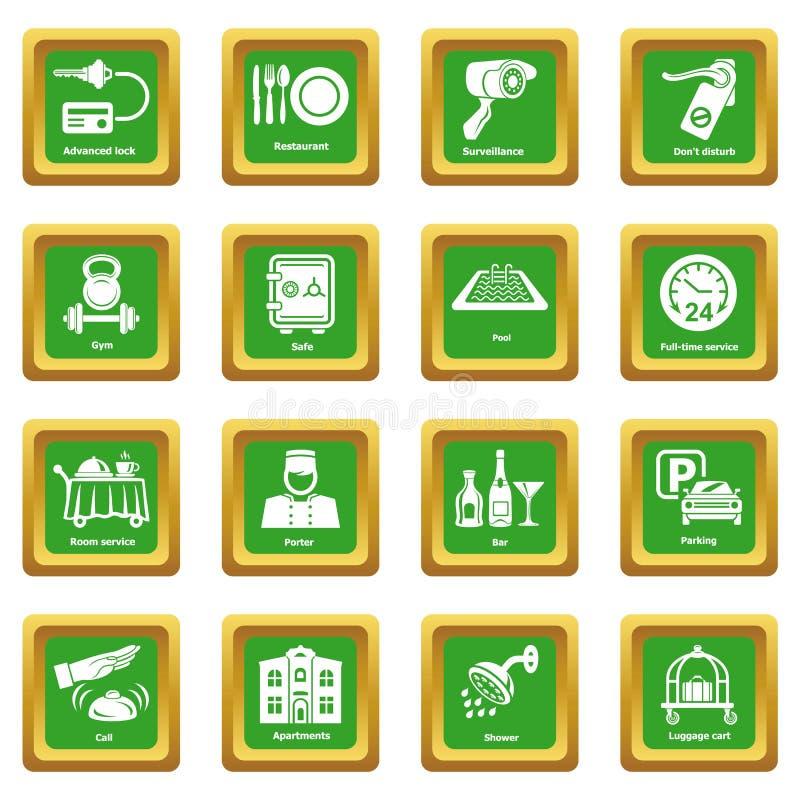 Vektor för fyrkant för gräsplan för uppsättning för symboler för hotellservice stock illustrationer
