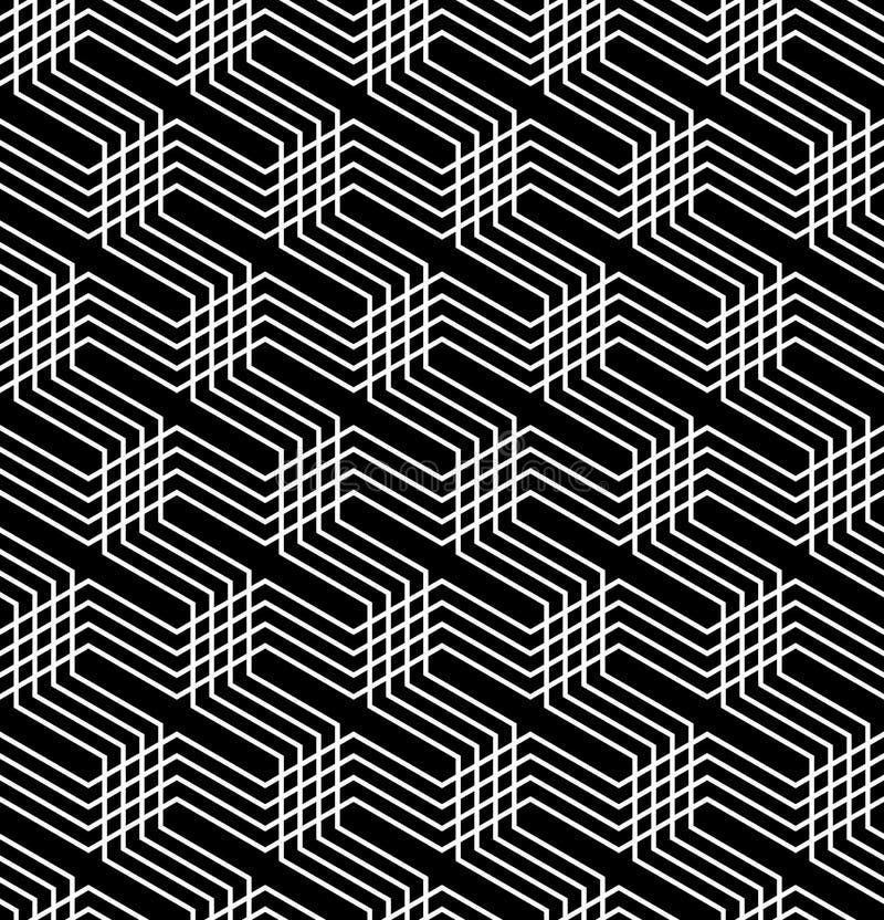 vektor för geometrisk op modell för konst seamless Svartvit isometrisk bakgrund och textur stock illustrationer