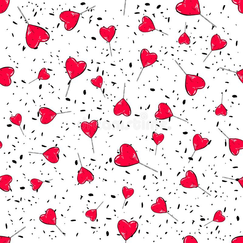 Vektor för godishjärtamodell Sömlös vektormodell med röda söta klubbor Inpackning av design för tapet för textiltyg royaltyfri illustrationer