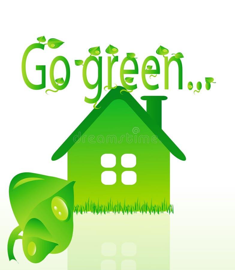 vektor för grönt hus för beautifullekologi royaltyfri illustrationer