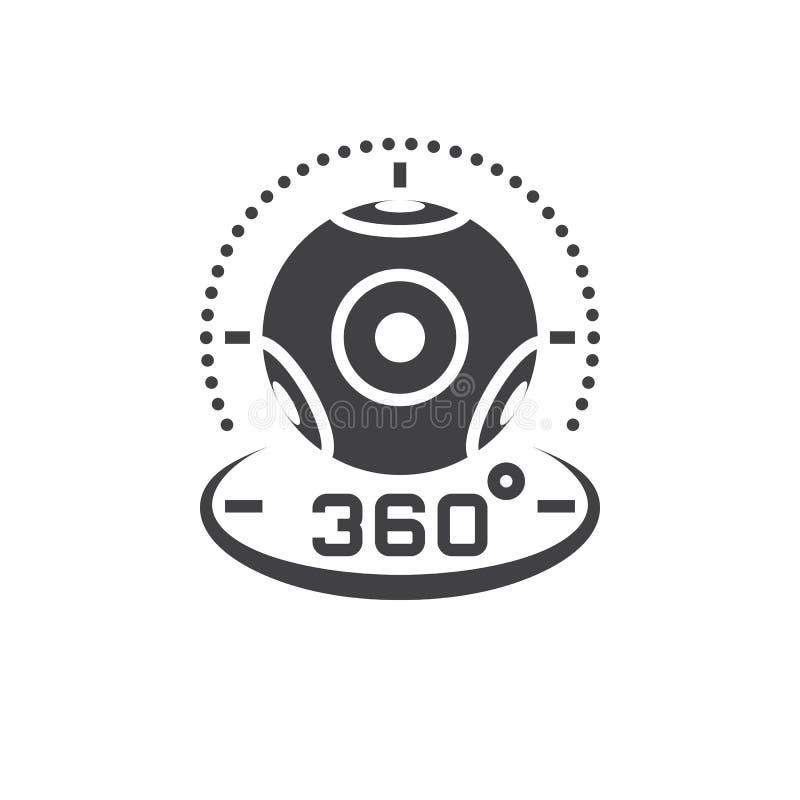vektor för 360 grad panorama- videokamerasymbol, virtuell verklighet D vektor illustrationer