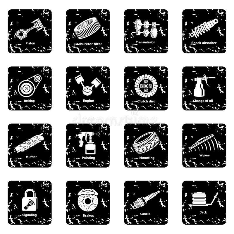 Vektor för grunge för symboler för bilreparationsdelar fastställd vektor illustrationer