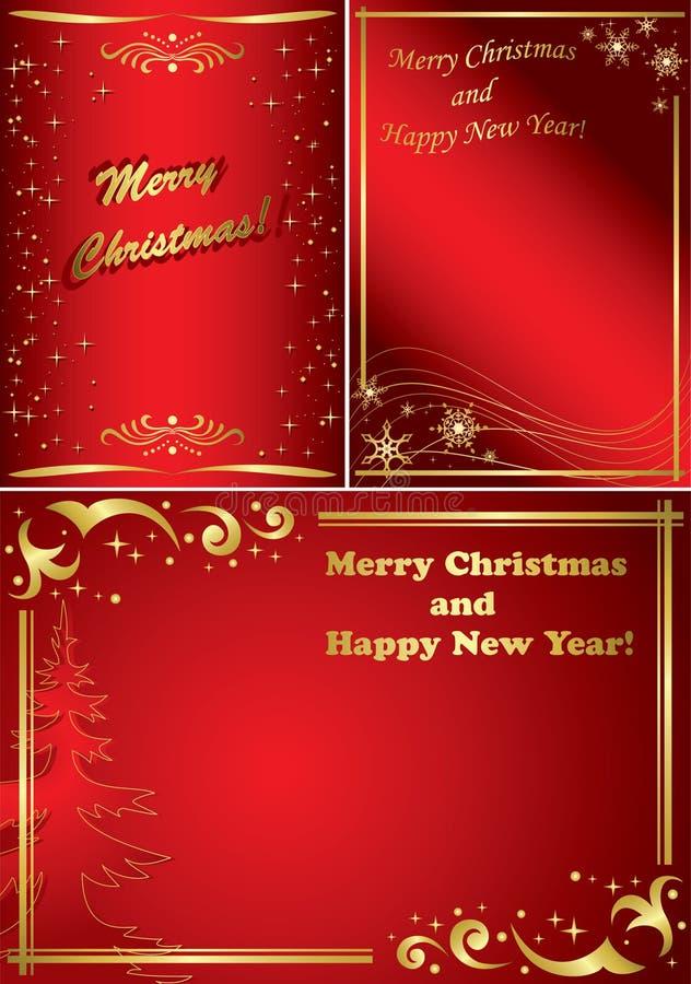 vektor för guld- red för julramar set vektor illustrationer