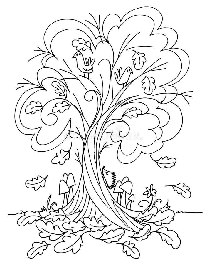 Vektor för höstträdfärgläggning vektor illustrationer