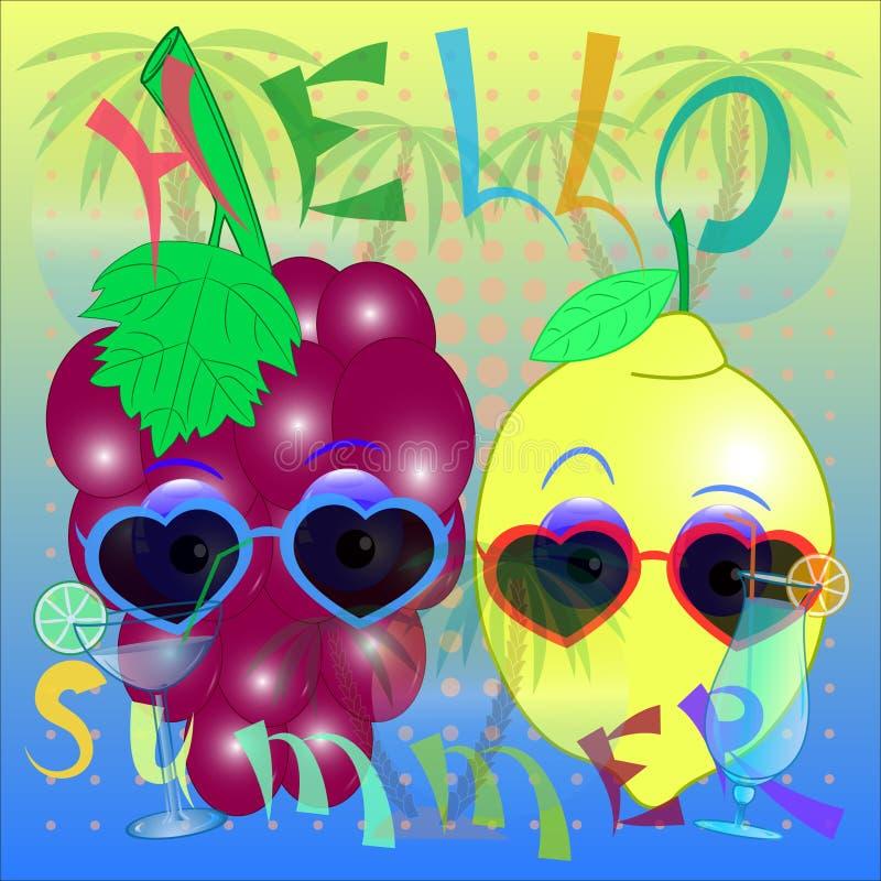 Vektor för för Hello sommardruva och citron royaltyfri illustrationer