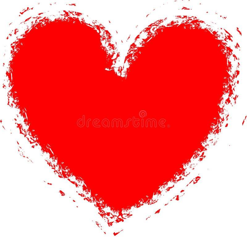 vektor för hjärta för grunge för bakgrundskantram stock illustrationer