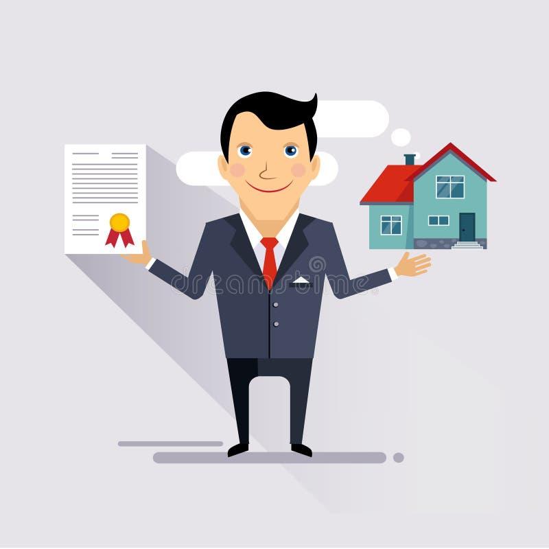 Vektor för husförsäkringavtal royaltyfri illustrationer