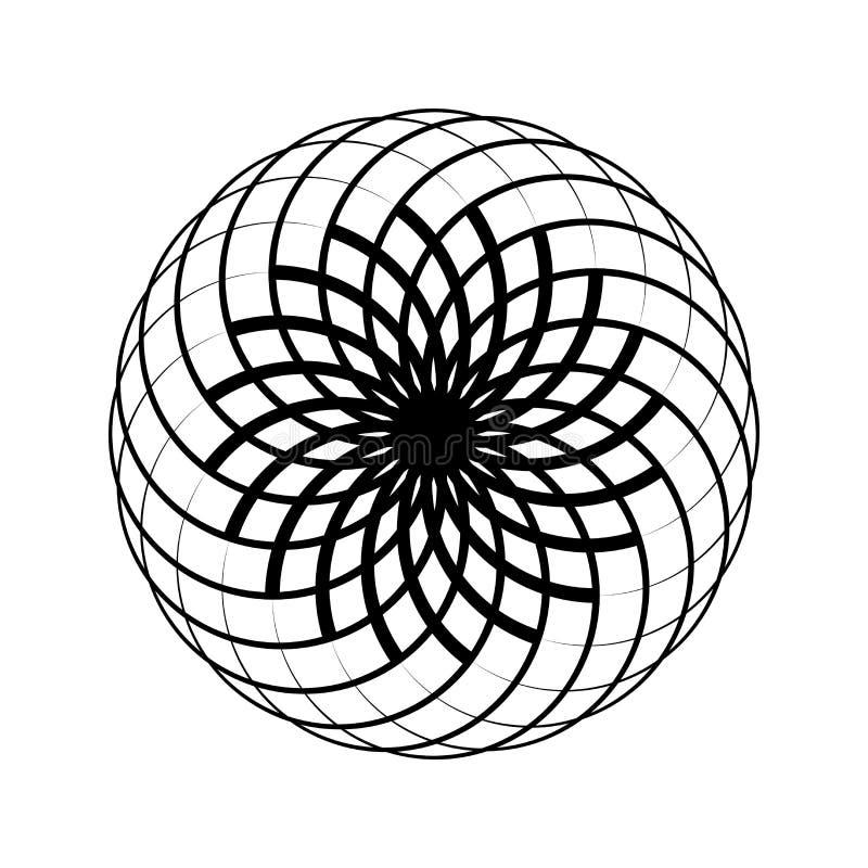 vektor för idélogosymbol Rund modell Geometrisk symbol Vektorillustator Härlig svartvit abstrakt blomma Isolerat på stock illustrationer