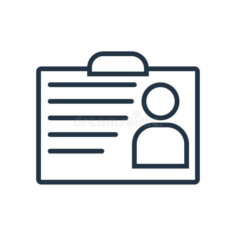 Vektor för ID-kortsymbol som isoleras på vit bakgrund, ID-korttecken vektor illustrationer