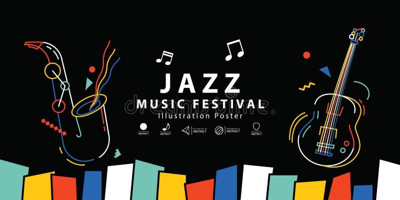 Vektor för illustration för affisch för baner för jazzmusikfestival Backgroun vektor illustrationer