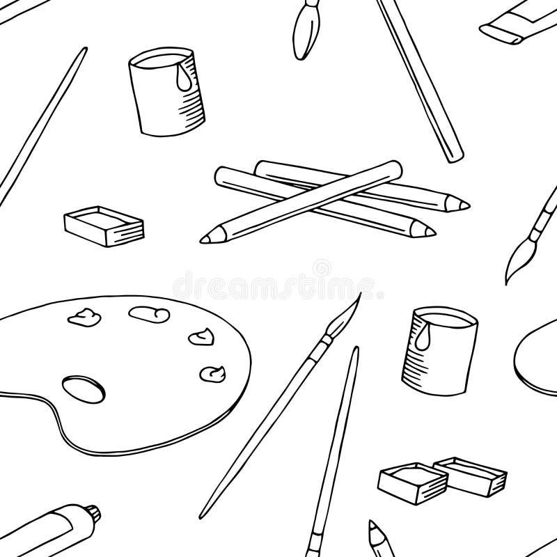 Vektor för illustration för bakgrund för modell för konstdiagramsvart vit sömlös stock illustrationer