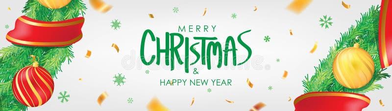 vektor för illustration för banerjul eps10 Bakgrund för vit jul med julbollar, snöflingor och guld- konfettier Horisontaljulaffis vektor illustrationer