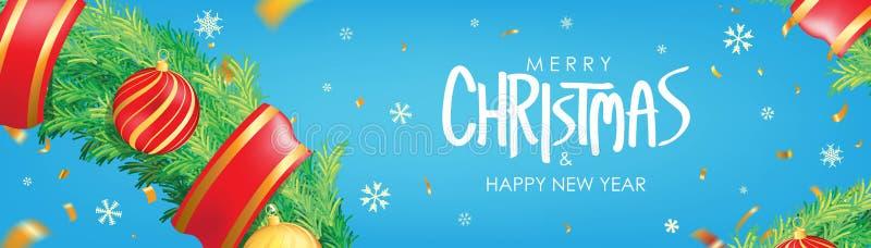 vektor för illustration för banerjul eps10 Blå julbakgrund med julbollar, snöflingor och guld- konfettier Horisontaljulaffisch, g royaltyfri illustrationer